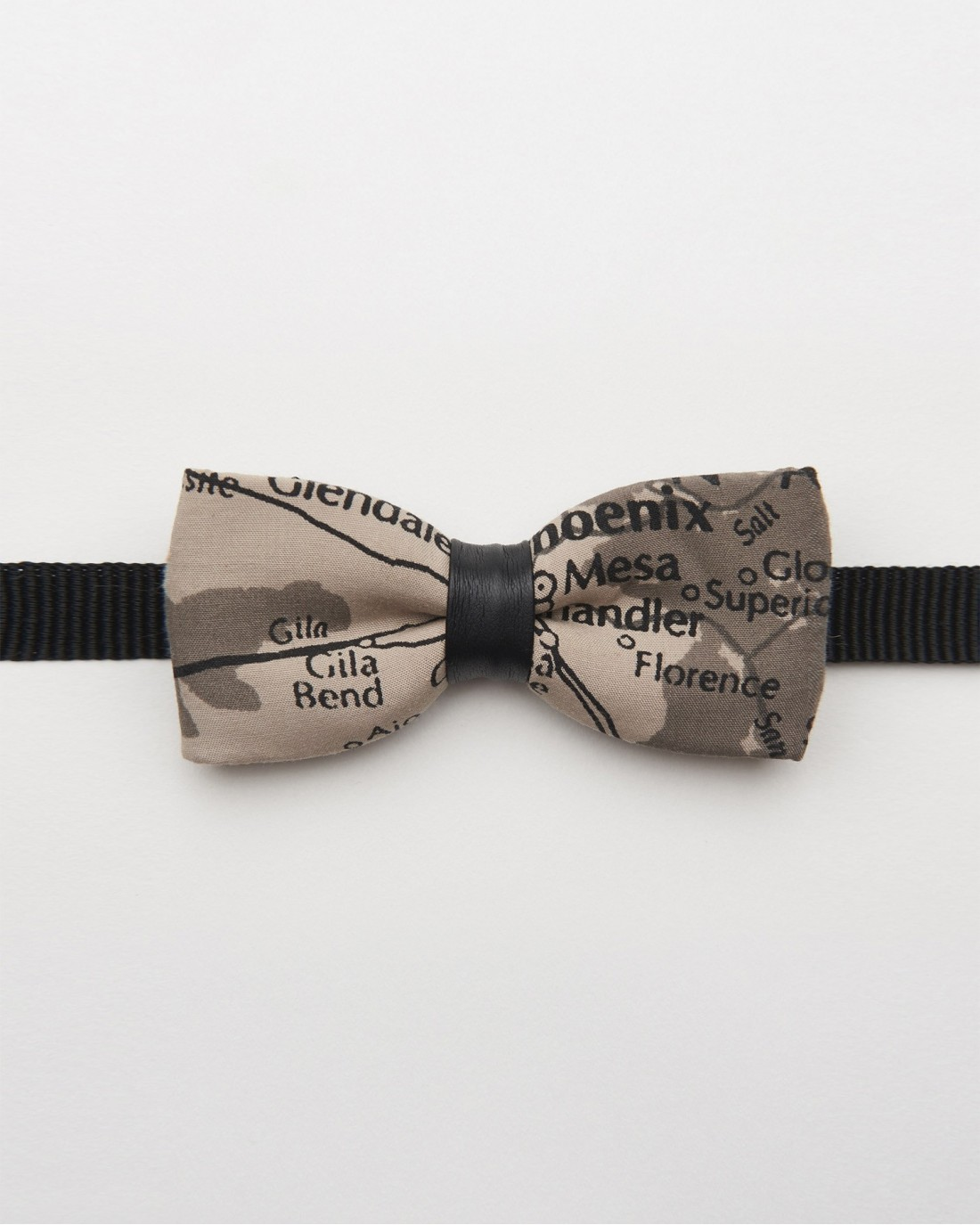 Bow Tie Gray Map Black