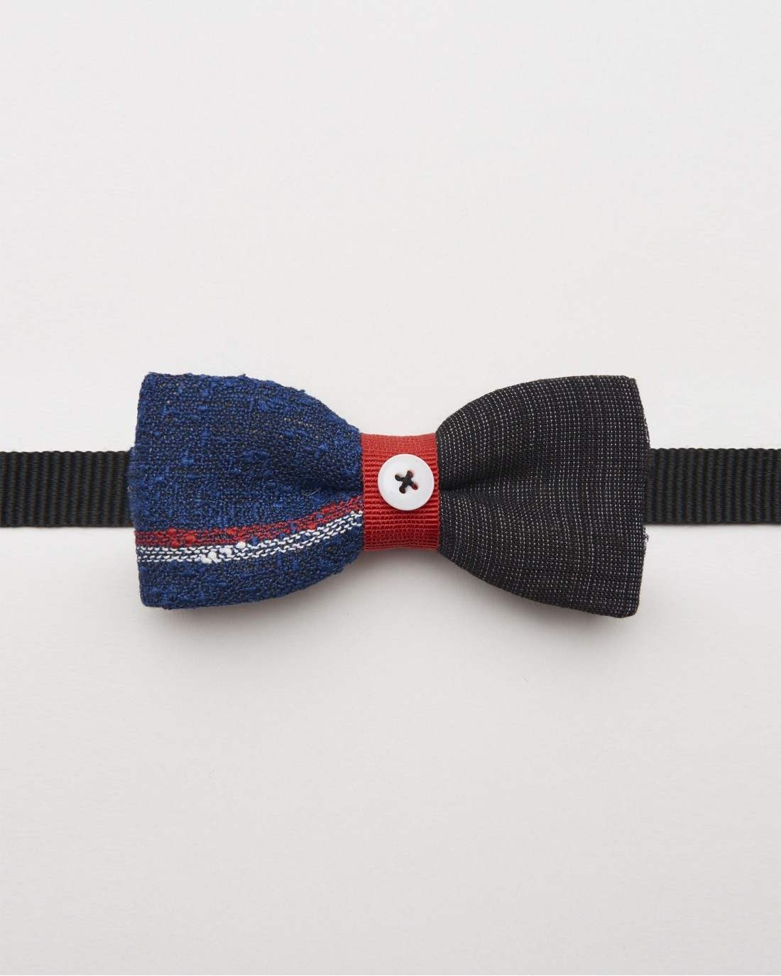 Bow Tie Linen Blue Black