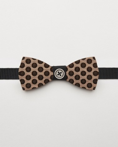 Bow Tie Button - Walnut wood with buttons adjustable for men and women
