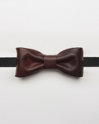 Papillon Bordeaux Leather - Vera pelle conciata al vegetale di colore bordeaux regolabile per uomo e donna