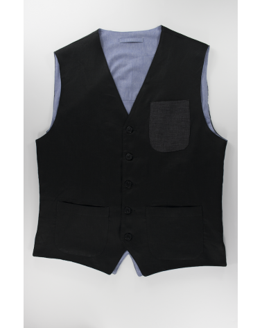 Gilet Dark Linen - Casual da uomo in lino nero e taschino in denim nero