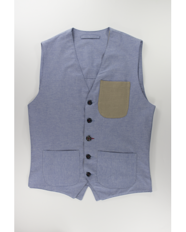 Gilet Sky Blue Cotton - Casual da uomo in cotone chambray celeste e taschino in lino beige