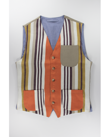 Gilet Orange Stripes - Casual da uomo in lino a righe verticali e taschino in lino beige