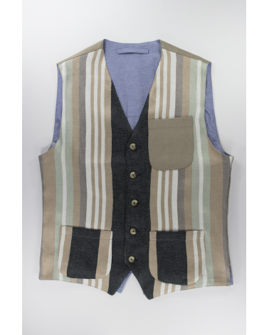 Gilet Black Stripes - Casual da uomo in lino a righe verticali e taschino in lino beige