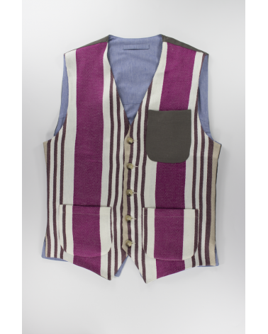 Purple Stripes Vest: Men's casual multicolor linen vest with gray pocket handmade in Italy
