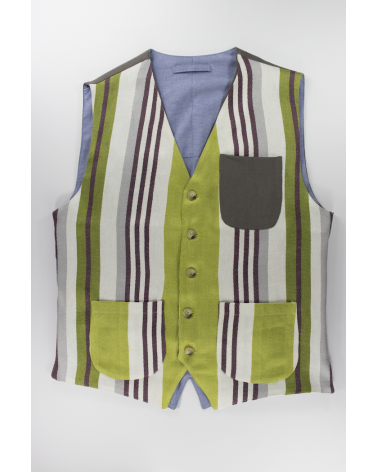 Green Stripes Vest: Men's casual multicolor linen vest with gray pocket handmade in Italy