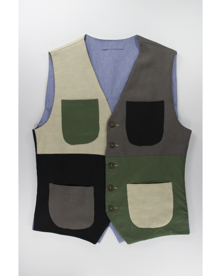 Patchwork Linen Vest: Men's casual Vest with pockets of contrasting specular colors handmade in Italy