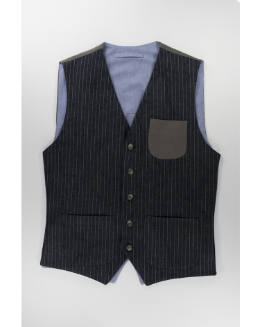 Gilet Striped Denim - Casual da uomo in denim scuro gessato e taschino
