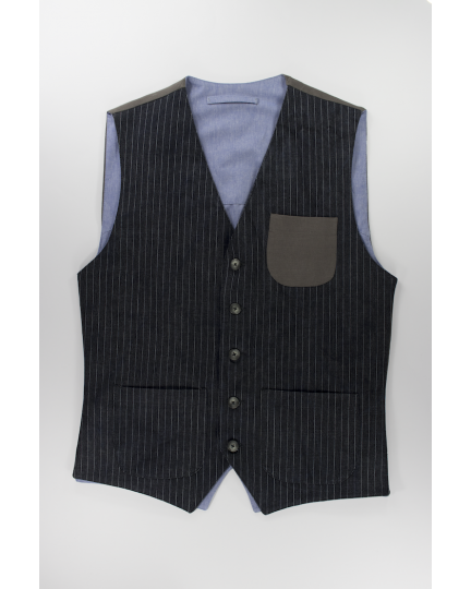 Striped Denim Vest: Men's casual dark striped denim vest with pockets handmade in Italy