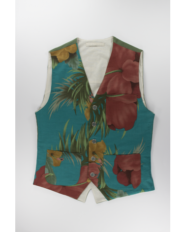Okinawa Azure Vest: Men's casual linen and cotton blend fabric coming from Okinawa handmade in Italy