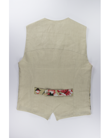 Okinawa Beige Vest: Men's casual linen and cotton blend fabric with pockets handmade in Italy