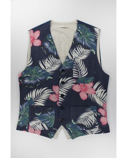 Okinawa Blue Vest: Men's casual linen and cotton blend fabric coming from Okinawa handmade in Italy