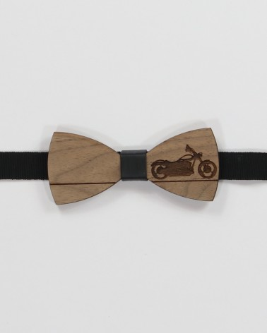 Biker Bow Tie - Walnut wood with engraved motorcycle pre tied with adjustable strap