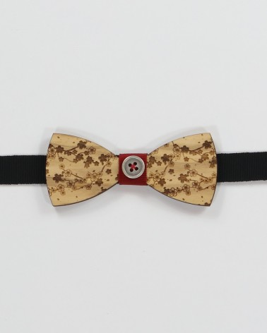 Cherry Tree Bow Tie - Olive wood with cherry branches laser engraved pre tied with adjustable strap