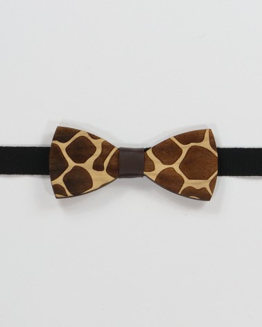 Jungle Bow Tie - Olive wood with animal print men's pre tied with adjustable strap