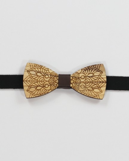 Tattoo Bow Tie - Dark walnut wood with floral pattern men's pre tied with adjustable strap
