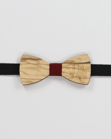 Vespa 50 Bow Tie - Dark walnut wood with vespa 50 men's pre tied with adjustable strap