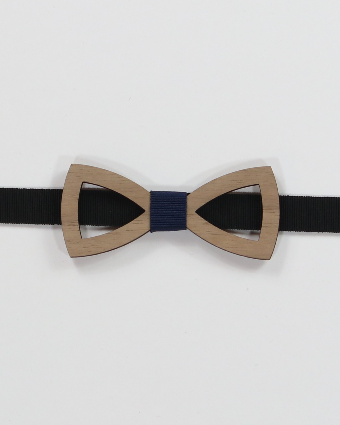 Walnut Shape Bow Tie - Light olive wood with specular holes men's pre tied with adjustable strap