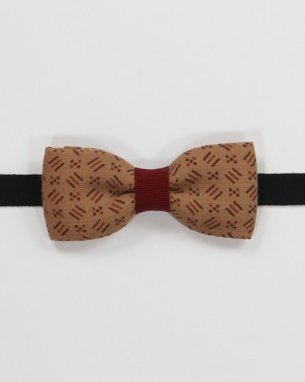 Big Bear Lake Bow Tie - Striped and spotted hazelnut brown fabric men's pre tied with adjustable strap