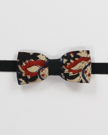 Soho Black Bow Tie - Red, beige and azure fabric on a black background men's pre tied with adjustable strap