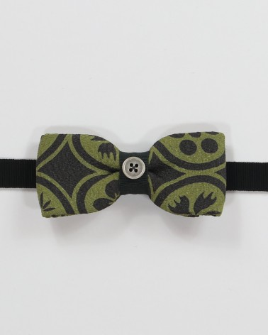 Pasadena Bow Tie - Grey and green japanese patterned fabric men's pre tied with adjustable strap