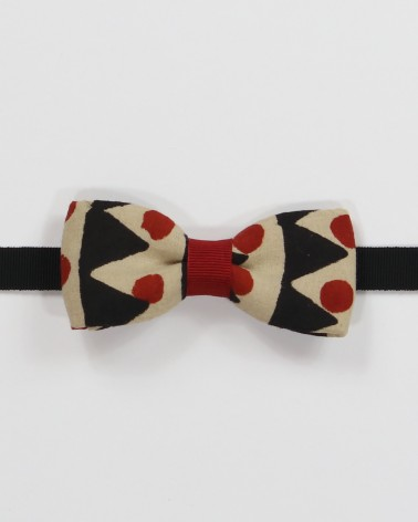 Greenwich Bow Tie - Blue, pearl grey and red daises printed fabric men's pre tied with adjustable strap