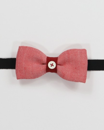 Santa Rosa Bow Tie - White and salmon pink herringbone fabric men's pre tied with adjustable strap