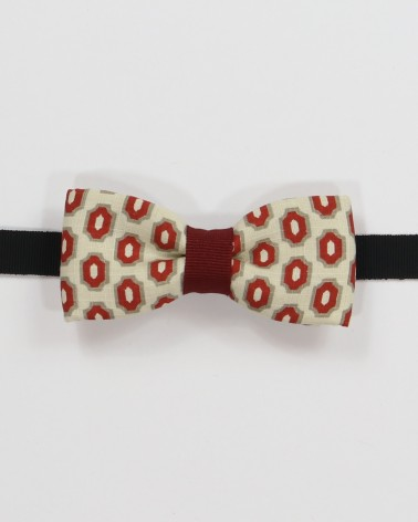 Irvine Bow Tie - Multicolored geometric patterned fabric men's pre tied with adjustable strap