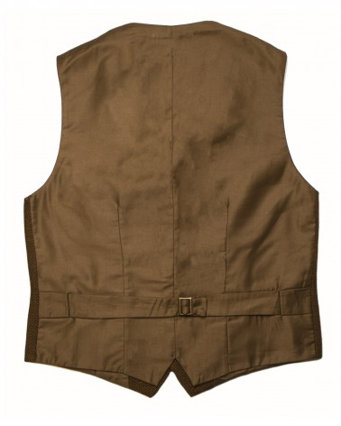 Antonio Vest: Men's casual wooden vest in mustard yellow and black geometric wool fabric