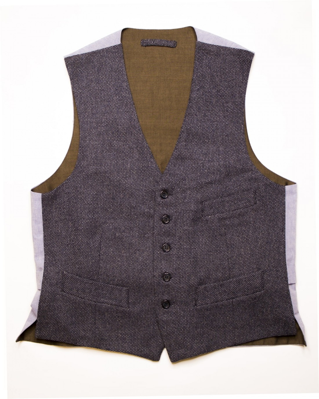 Mario Vest: Men's casual vest in blue and azure punctuate wool fabric