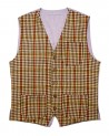 Franco Vest: Men's casual vest red, green, mustard and black checked wool fabric