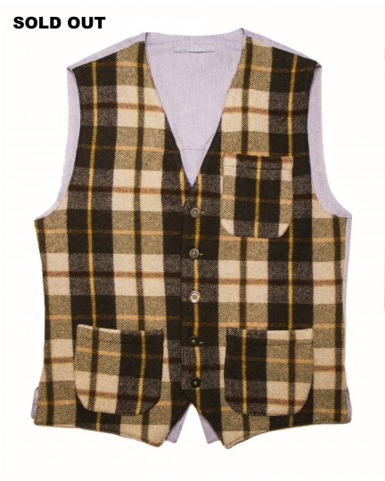 Pino Vest: Men's casual chequered vest with beige, green, brown and black tartan wool fabric